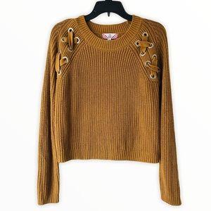 Pink Rose Yellow Mustard Long Sleeves Sweater L
